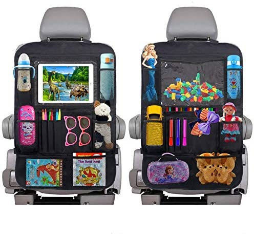 2 Pack Backseat Car Organizer  Car Storage Organizer with 10 Clear Screen Tablet Holder and 12 Storage Pockets Seat Back Protectors Kick Mats for Kids Toddlers