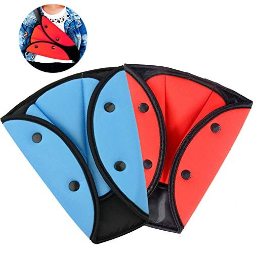 2 Pack Seatbelt Adjuster for Kids Adults  WenMei Auto Shoulder Neck Strap Adjuster  Car Seatbelt Safety Cover Triangle Positioner for Children Baby Adult  Soft and Breathable (Blue + Red)