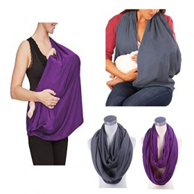2 Pack Nursing Cover Breastfeeding Cover Breast Feeding Cover ups Infinity Scarf  JTSN Lightweight Soft Breathable Udder Cover Light car-seat Stroller Canopy mom Baby Essentials (Dark Gray Purple)