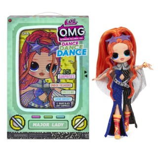 LOL Surprise OMG Dance Dance Dance Major Lady Fashion Doll with 15 Surprises Including Magic Blacklight Shoes Hair Brush Doll Stand and TV Package - For Girls Ages 4+