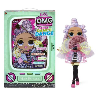LOL Surprise OMG Dance Dance Dance Miss Royale Fashion Doll with 15 Surprises Including Magic Blacklight Shoes Hair Brush Doll Stand and TV Package - For Girls Ages 4+