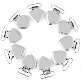 10 Pcs Pacifier Holder Suspender Clips  Metal Heart Shape Clip for Making Pacifier Holders Bib Toy Holder Clips Silver