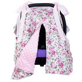 2 in 1 Baby Car Seat Canopy Covers for Girls Boys Nursing Breastfeeding Cover (Rose)