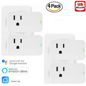 4 Pack Smart Plug Wifi Enabled Mini Outlets Smart SocketSmart Life App Compatible with Alexa & Google Assistant No Hub Required Timing Outlet Remote Control your Devices from Anywhere